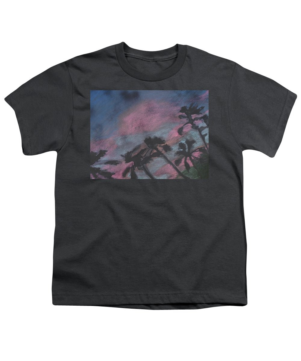 Contemporary Tree Landscapes Youth T-Shirt featuring the drawing San Diego Palms by Leah Tomaino