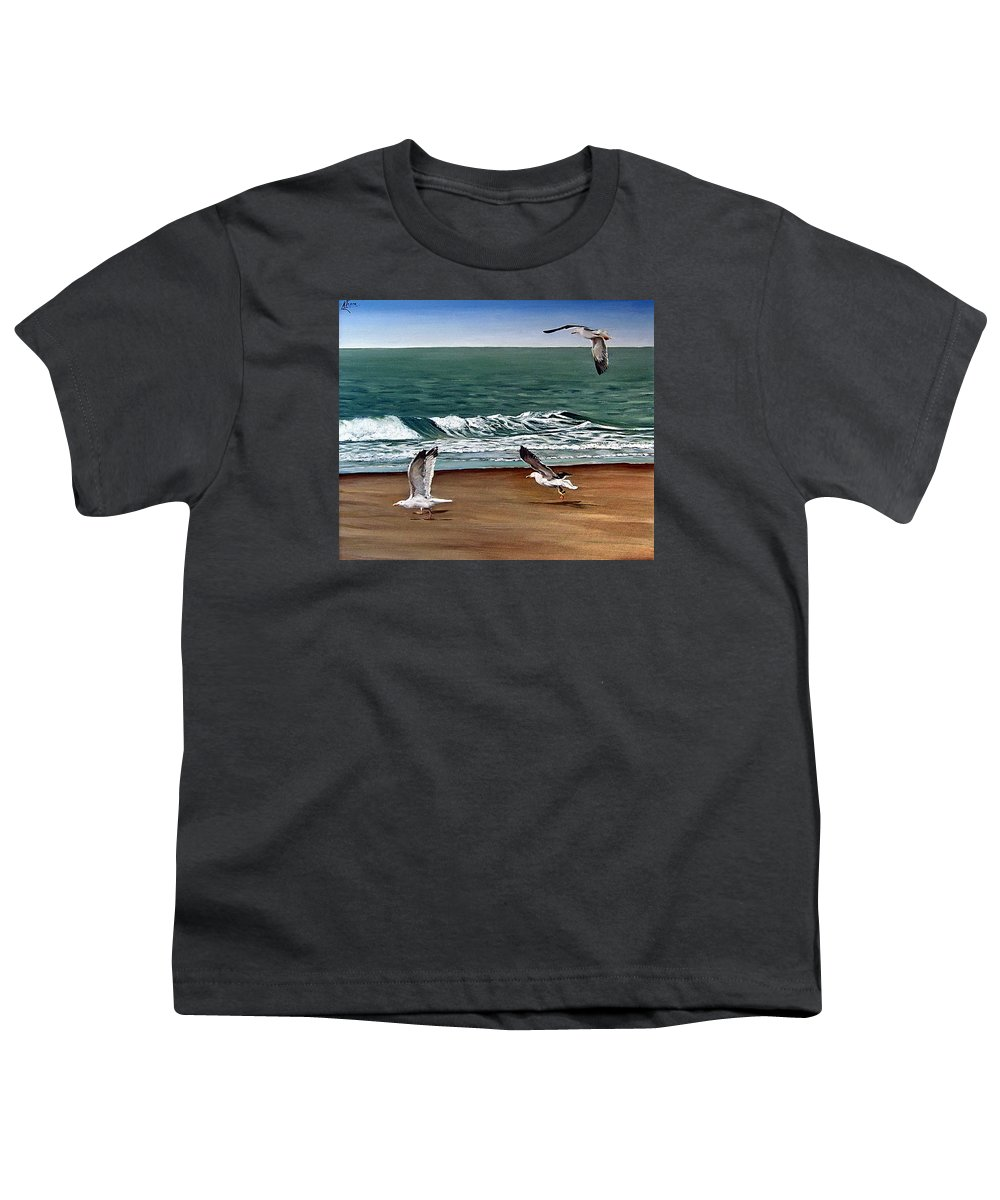 Seascape Youth T-Shirt featuring the painting Seagulls 2 by Natalia Tejera