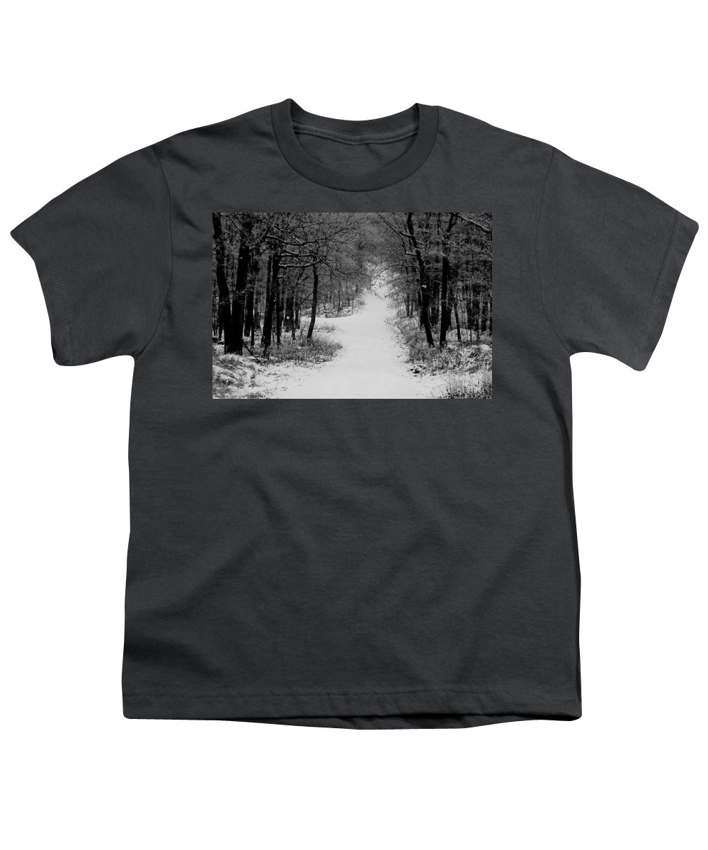 Snow Youth T-Shirt featuring the photograph See Where It Leads. by Jean Macaluso