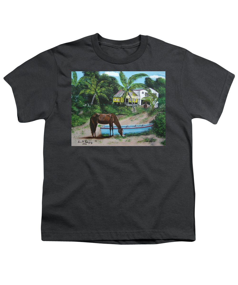 Aguadilla Youth T-Shirt featuring the painting Serenity by Luis F Rodriguez