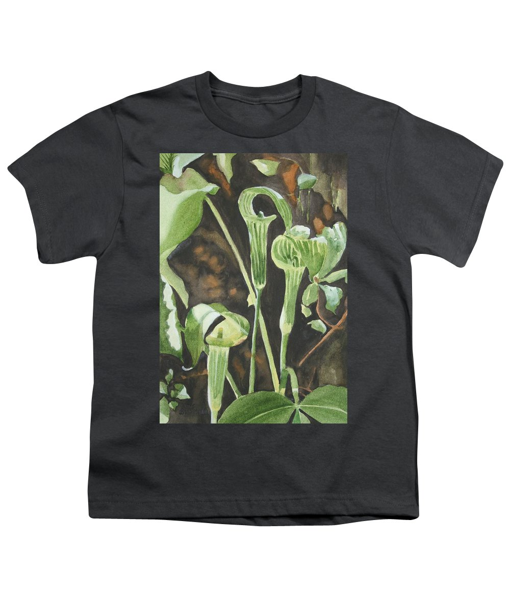 Woods Youth T-Shirt featuring the painting Sermon In The Woods by Jean Blackmer