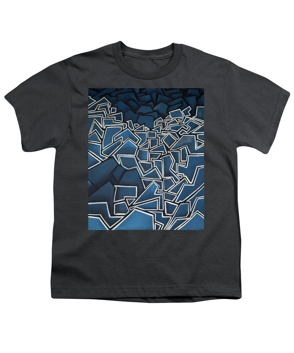 Abstract Youth T-Shirt featuring the painting Shadderd Space by Thomas Valentine