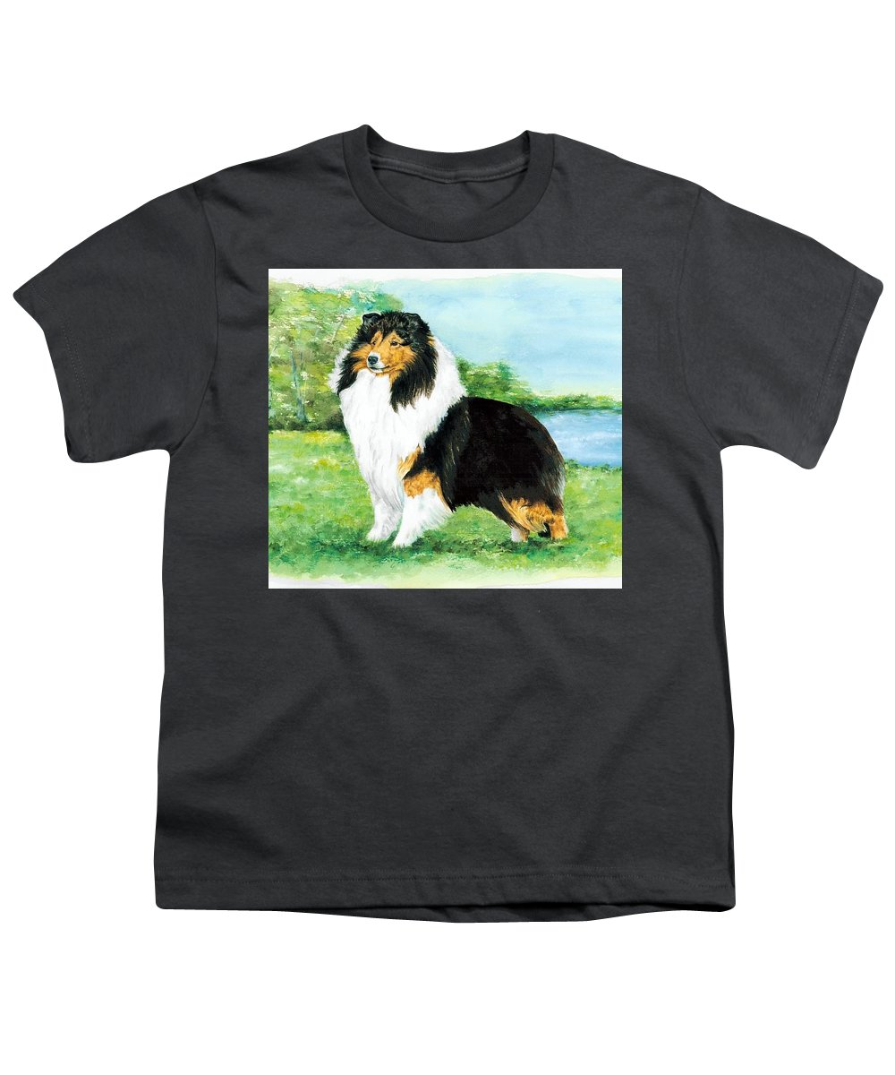 Shetland Sheepdog Youth T-Shirt featuring the painting Sheltie Wait by Kathleen Sepulveda