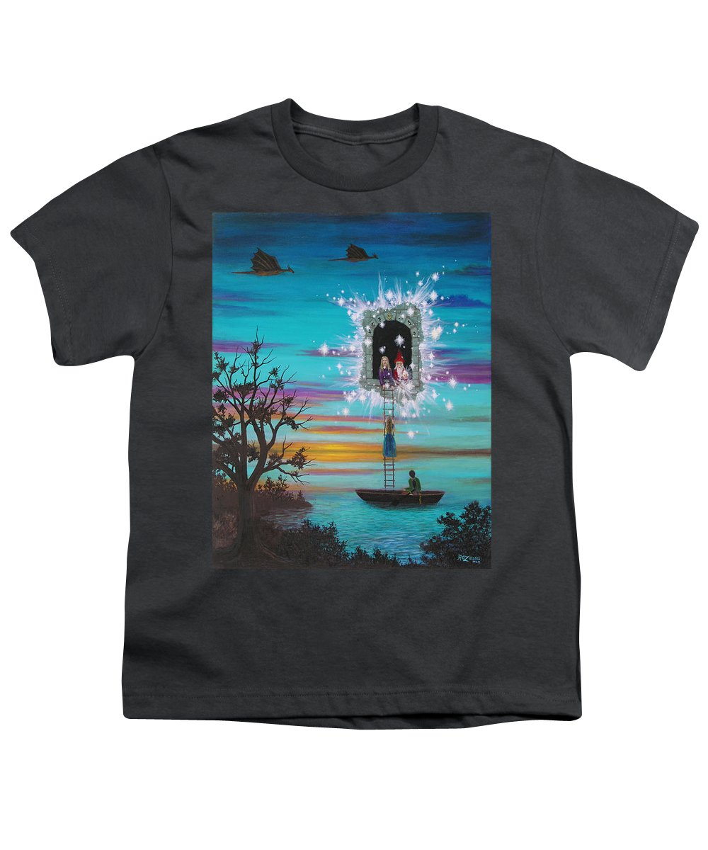 Fantasy Youth T-Shirt featuring the painting Sky Window by Roz Eve