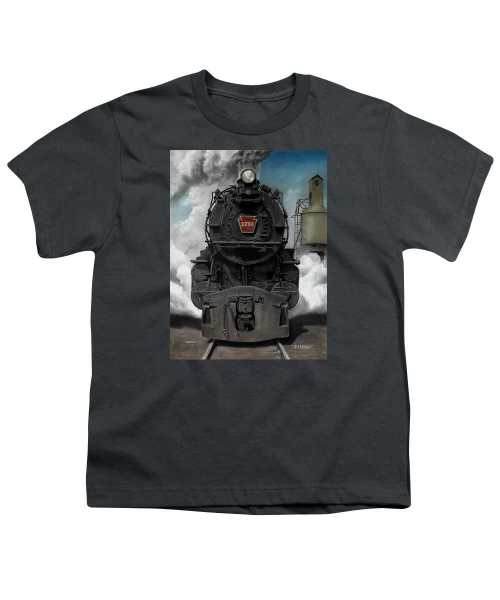 Trains Youth T-Shirt featuring the painting Smoke And Steam by David Mittner