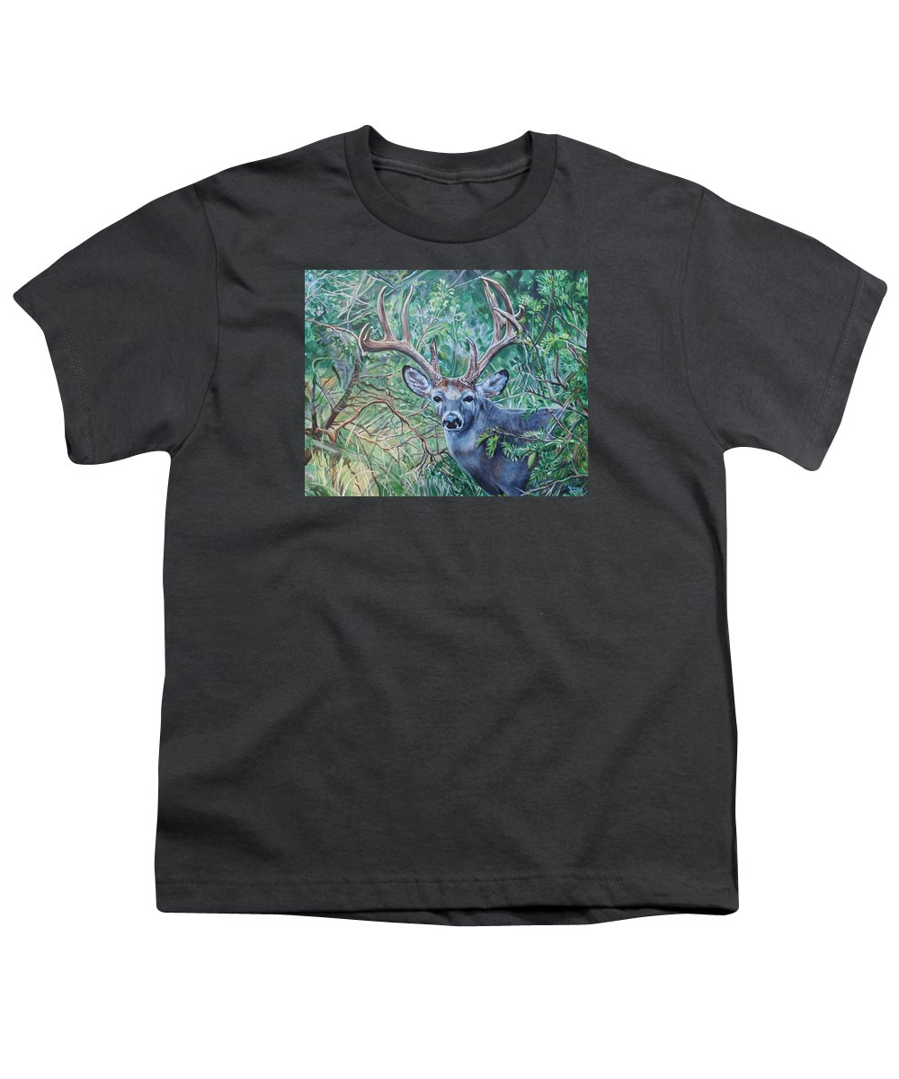 Deer Youth T-Shirt featuring the painting South Texas Deer In Thick Brush by Diann Baggett