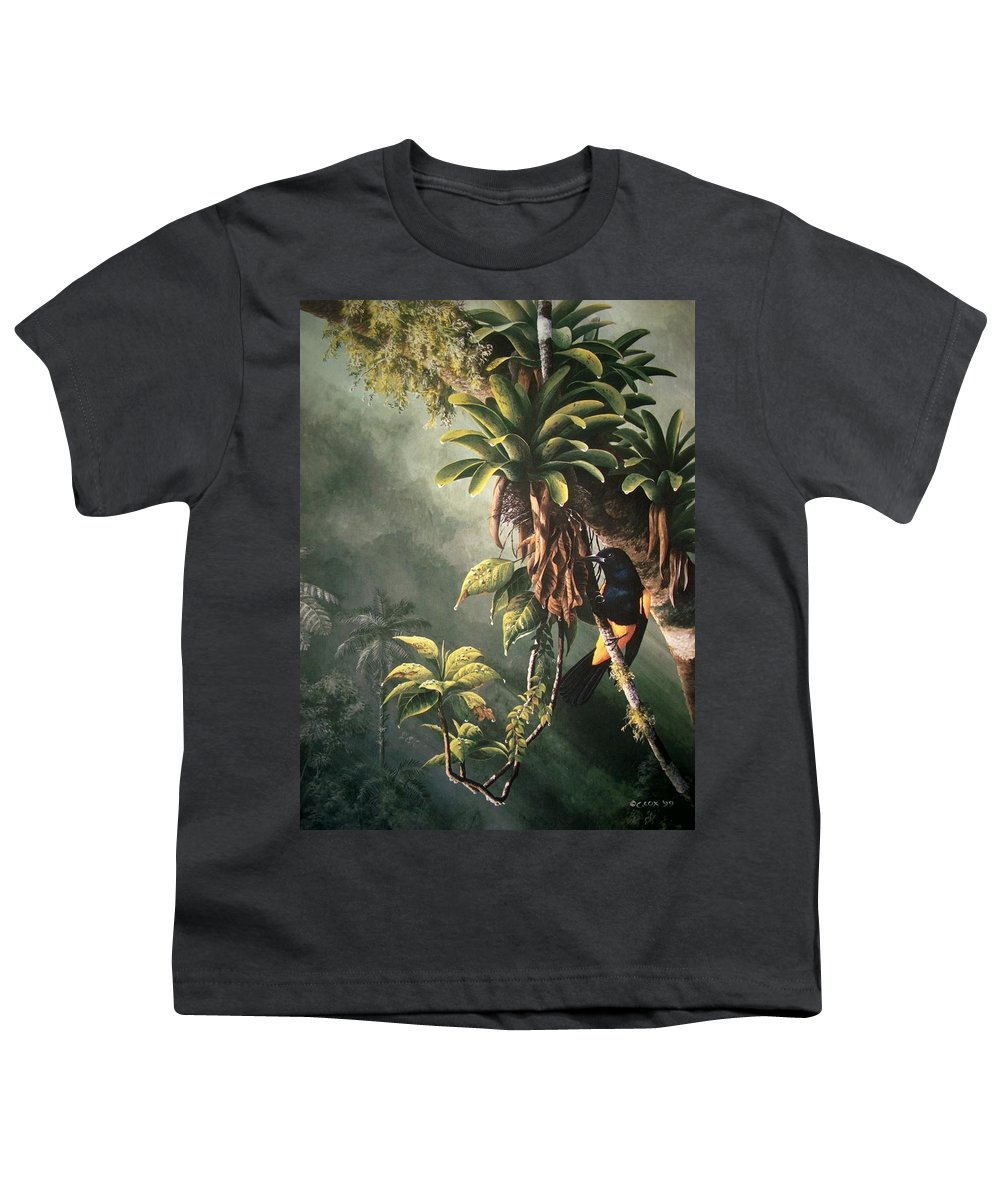 Chris Cox Youth T-Shirt featuring the painting St. Lucia Oriole In Bromeliads by Christopher Cox