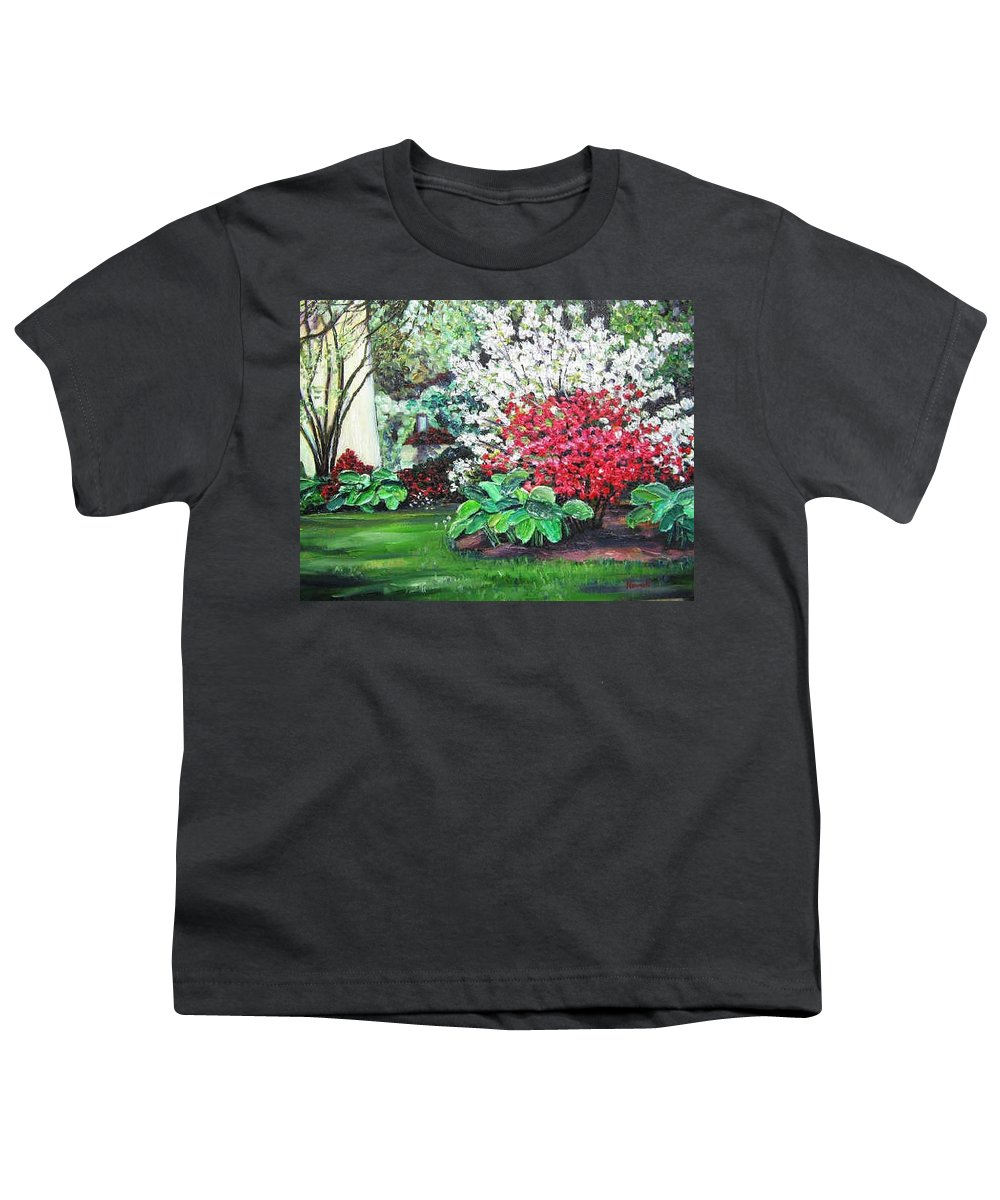 Blossoms Youth T-Shirt featuring the painting Stanely Park Blossoms by Richard Nowak