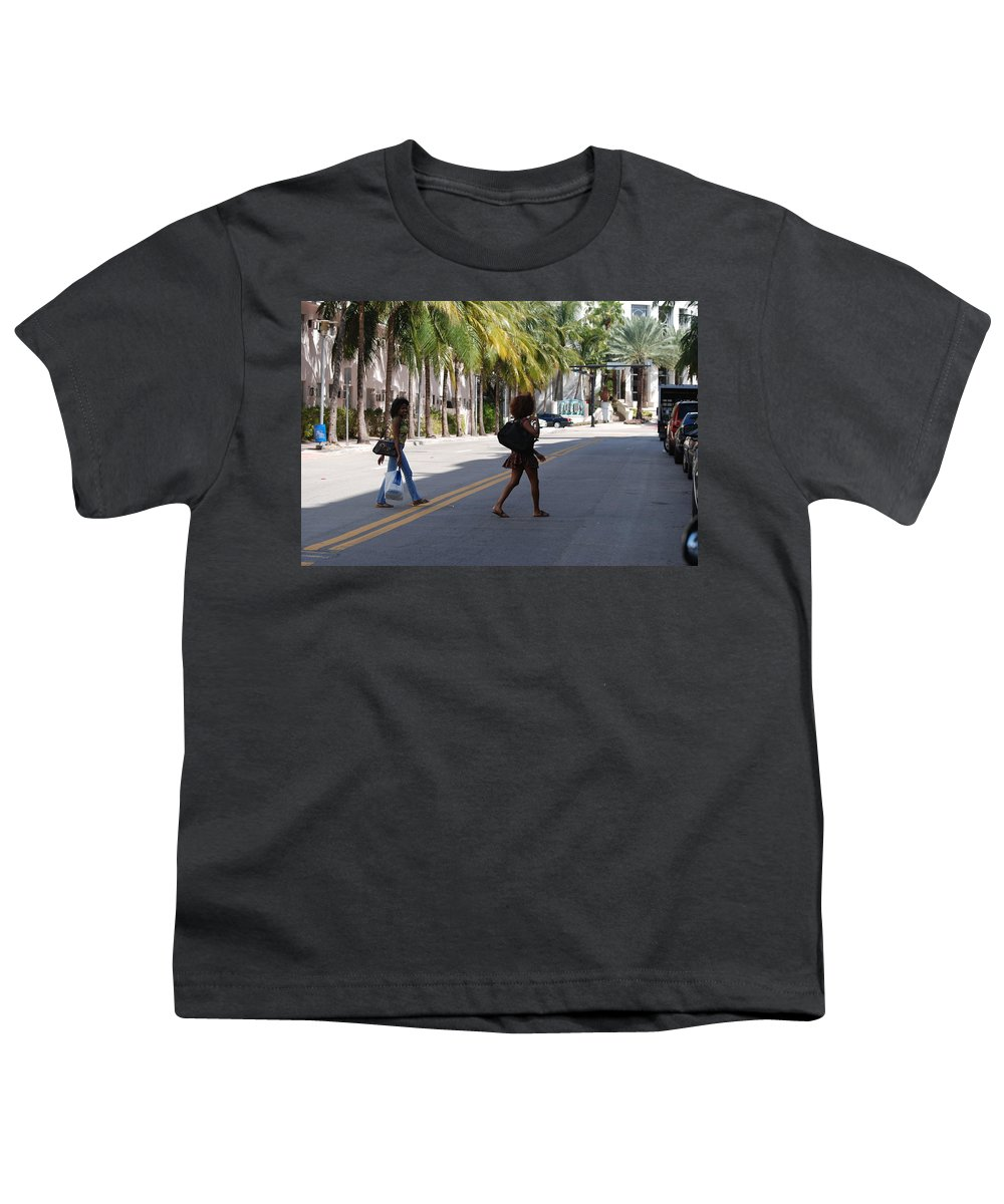 Girls Youth T-Shirt featuring the photograph Street Walkers by Rob Hans