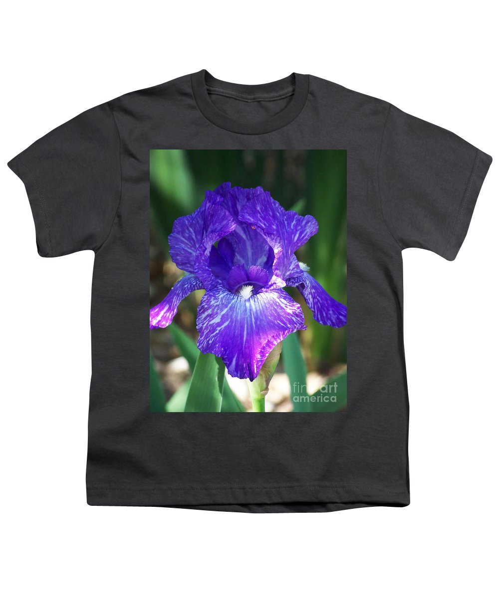 Flowers Youth T-Shirt featuring the photograph Striped Blue Iris by Kathy McClure