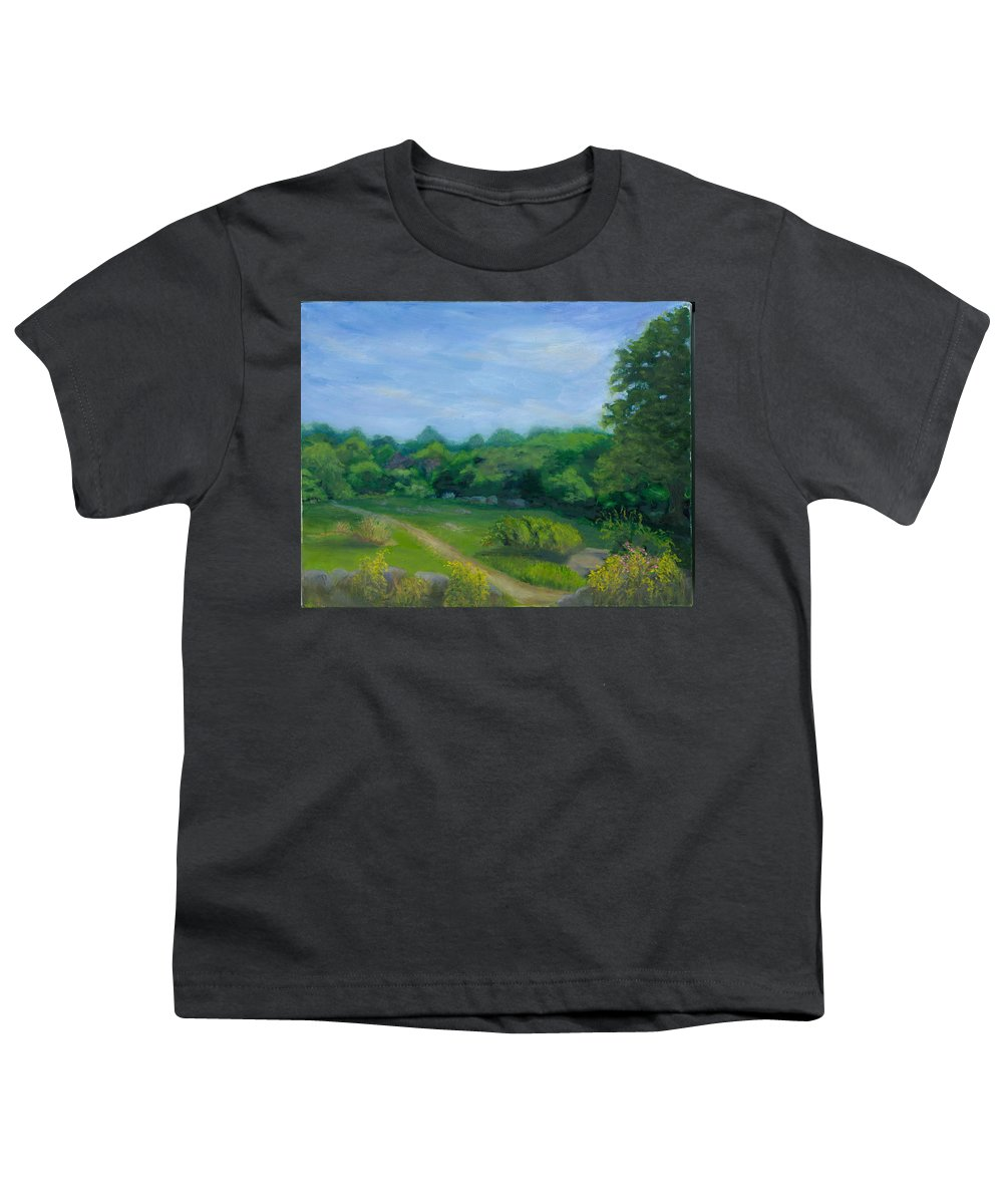 Landscape Youth T-Shirt featuring the painting Summer Afternoon At Ashlawn Farm by Paula Emery