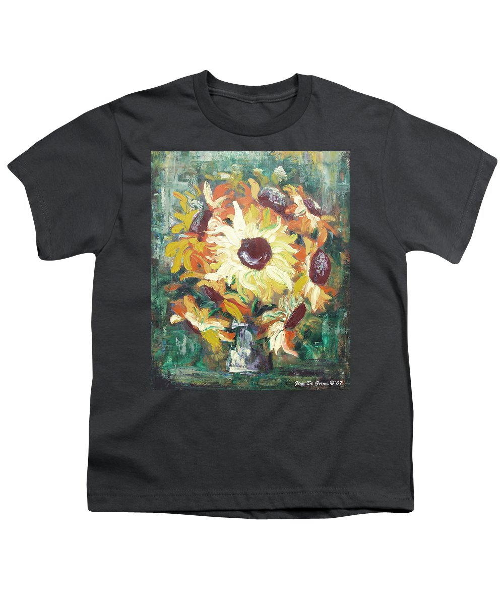Sunflowers Youth T-Shirt featuring the painting Sun In A Vase by Gina De Gorna