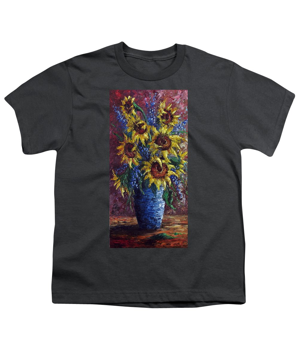 Flowers Youth T-Shirt featuring the painting Sunflower Bouquet by David G Paul