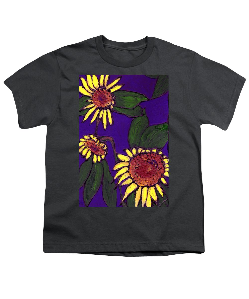 Sunflowers Youth T-Shirt featuring the painting Sunflowers On Purple by Wayne Potrafka