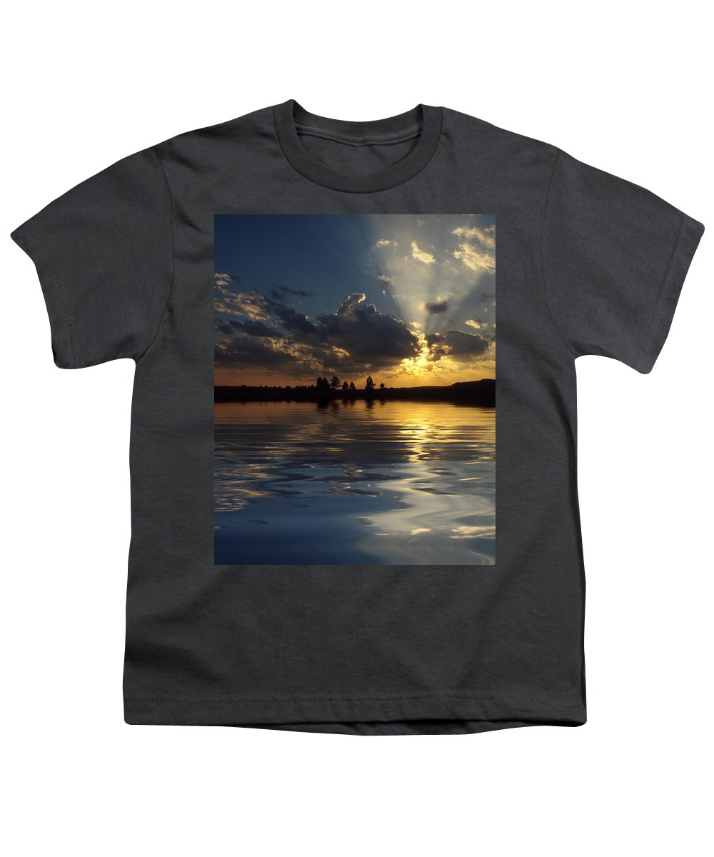 Sunset Youth T-Shirt featuring the photograph Sunray Sunset by Jerry McElroy