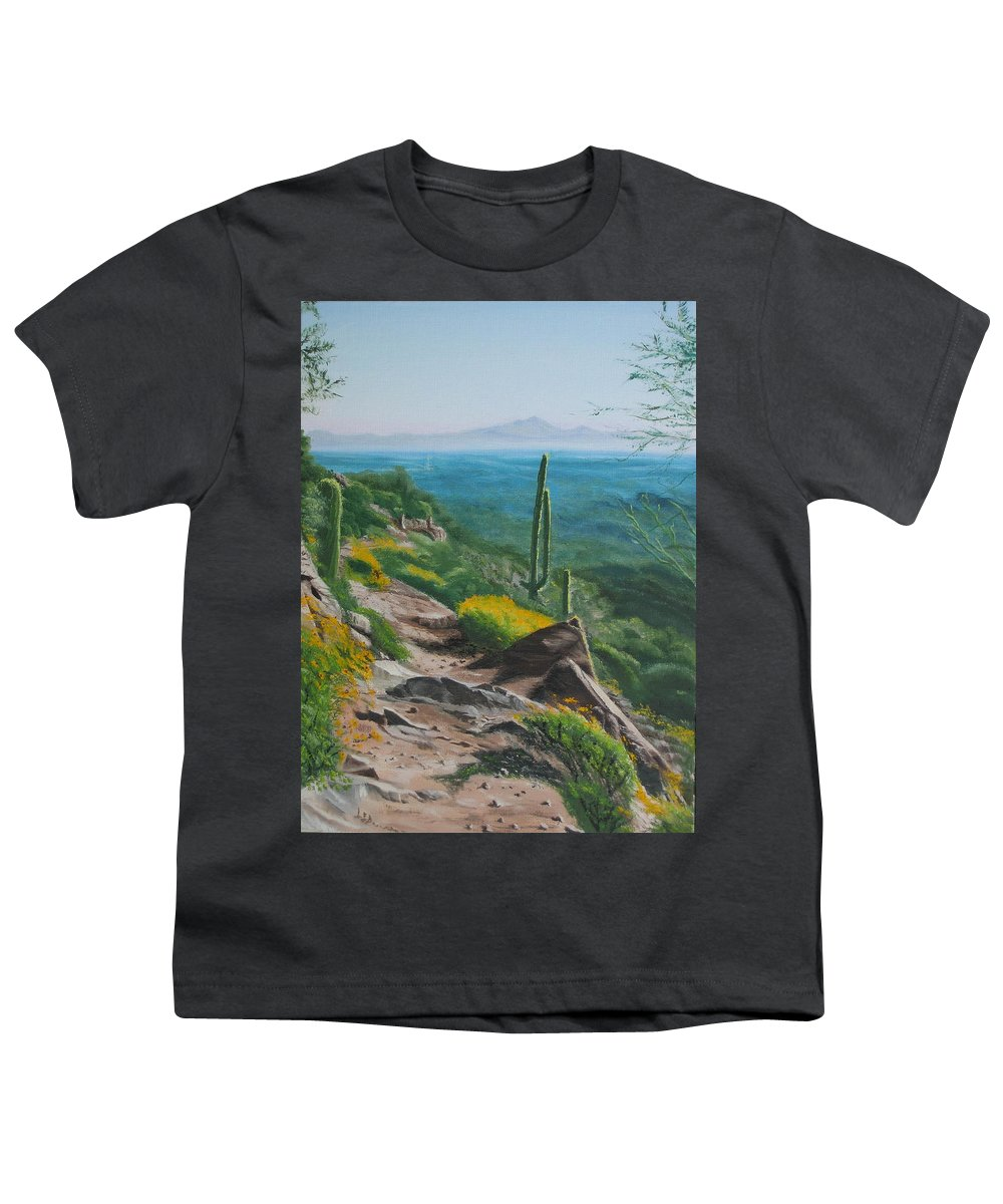 Landscape Youth T-Shirt featuring the painting Sunrise Trail by Lea Novak