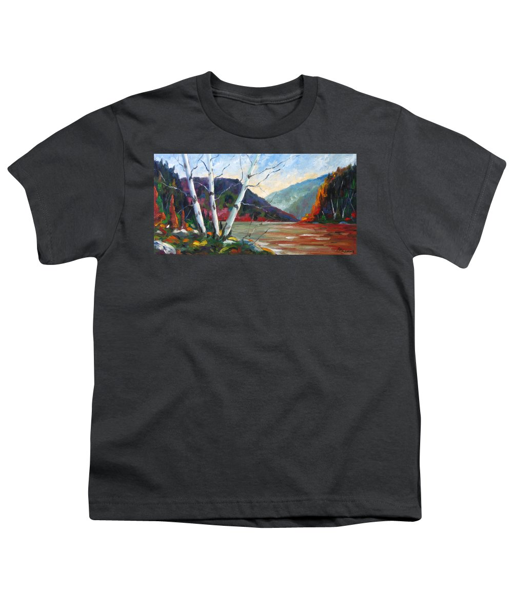 Landscape; Landscapes/scenic; Birches;sun;lake;pranke Youth T-Shirt featuring the painting Sunset On The Lake by Richard T Pranke