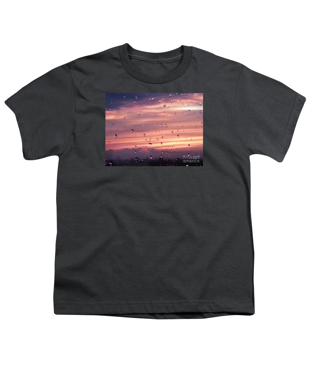 Sunset Youth T-Shirt featuring the photograph Sunset Raindrops by Alana Boltwood