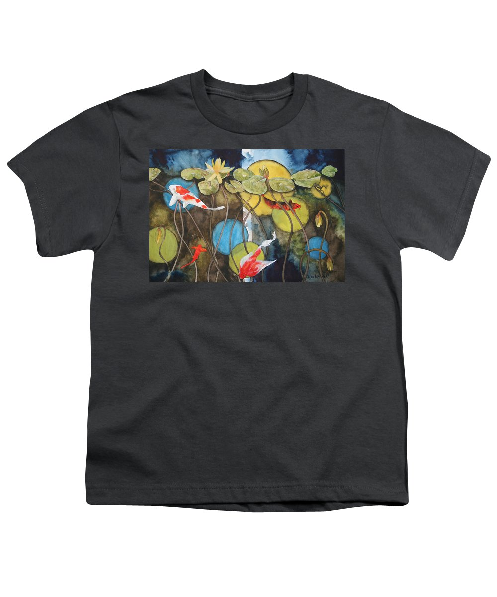 Abstract Youth T-Shirt featuring the painting Swimming In Circles by Jean Blackmer