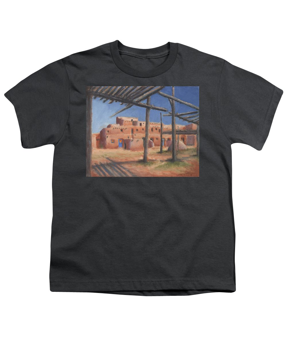 Taos Youth T-Shirt featuring the painting Taos Pueblo by Jerry McElroy