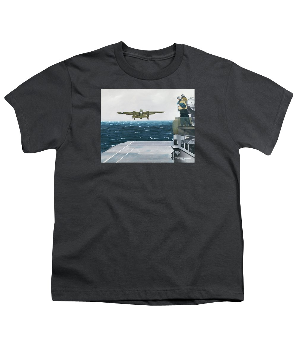 Aviation Youth T-Shirt featuring the painting Target Tokyo by Marc Stewart