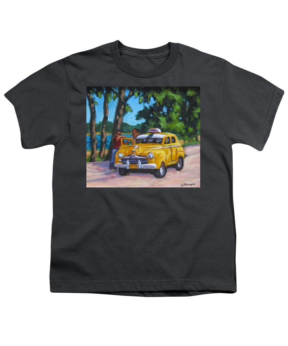 Old Cars Youth T-Shirt featuring the painting Taxi Y Amigos by John Malone