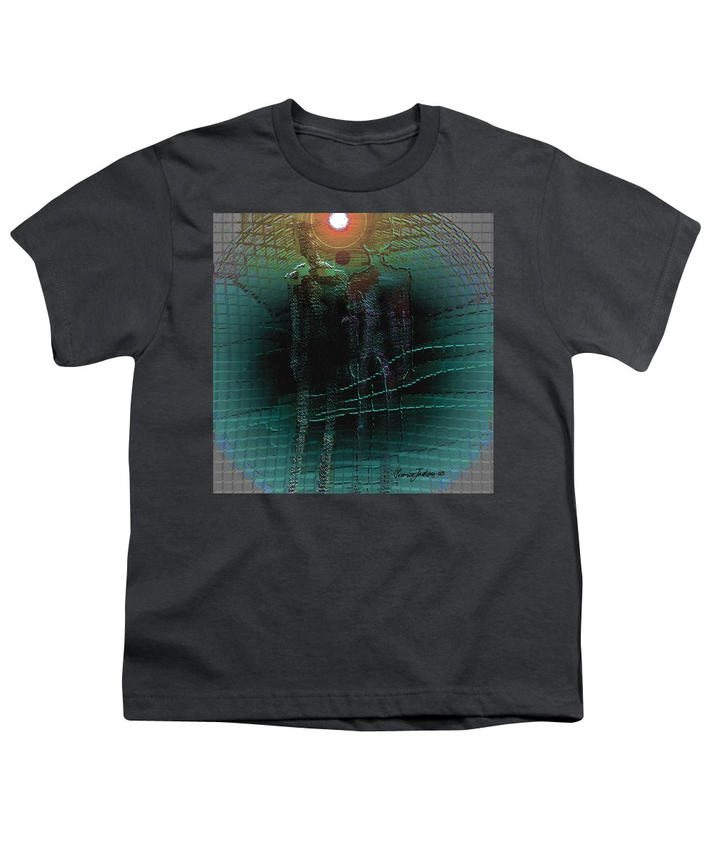 People Alien Arrival Visitors Youth T-Shirt featuring the digital art The Arrival by Veronica Jackson