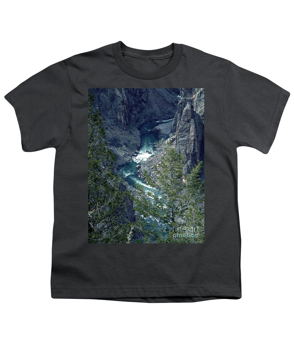 Canyon Youth T-Shirt featuring the painting The Black Canyon Of The Gunnison by RC DeWinter