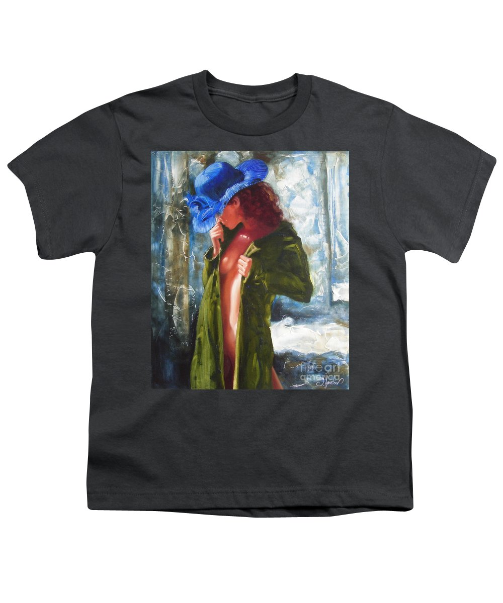 Art Youth T-Shirt featuring the painting The Blue Hat by Sergey Ignatenko