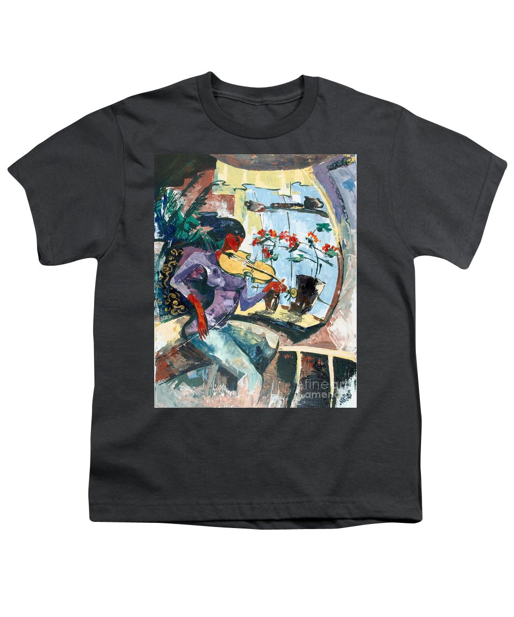 Music Youth T-Shirt featuring the painting The Color Of Music by Elisabeta Hermann