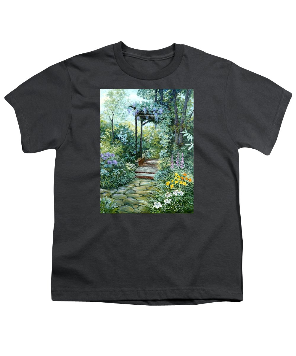 Oil Painting;wisteria;garden Path;lilies;garden;flowers;trellis;trees;stones;pergola;vines; Youth T-Shirt featuring the painting The Garden Triptych Right Side by Lois Mountz