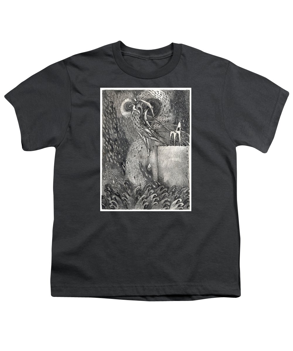 Leap Youth T-Shirt featuring the drawing The Leap by Juel Grant