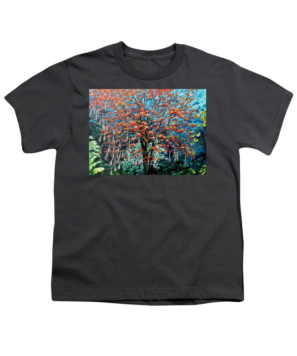 Tree Painting Mountain Painting Floral Painting Caribbean Painting Original Painting Of Immortelle Tree Painting  With Nesting Corn Oropendula Birds Painting In Northern Mountains Of Trinidad And Tobago Painting Youth T-Shirt featuring the painting The Mighty Immortelle by Karin Dawn Kelshall- Best
