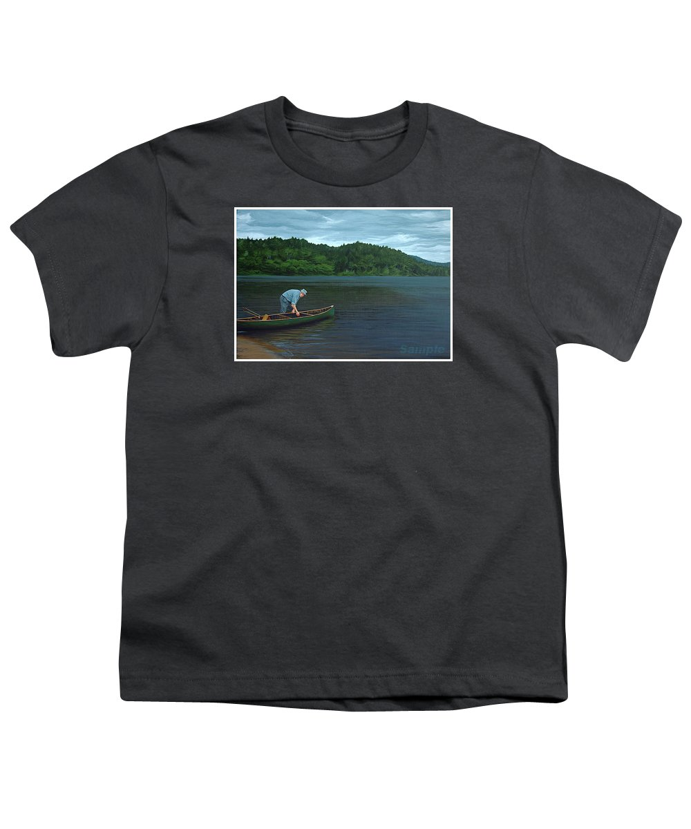 Landscape Youth T-Shirt featuring the painting The Old Green Canoe by Jan Lyons
