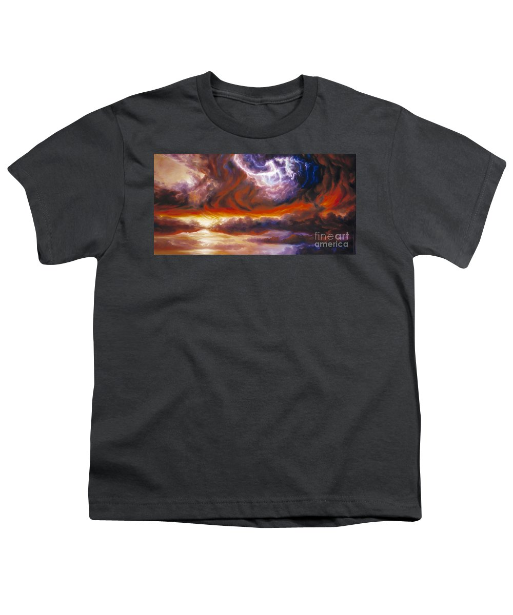 Tempest Youth T-Shirt featuring the painting The Tempest by James Christopher Hill