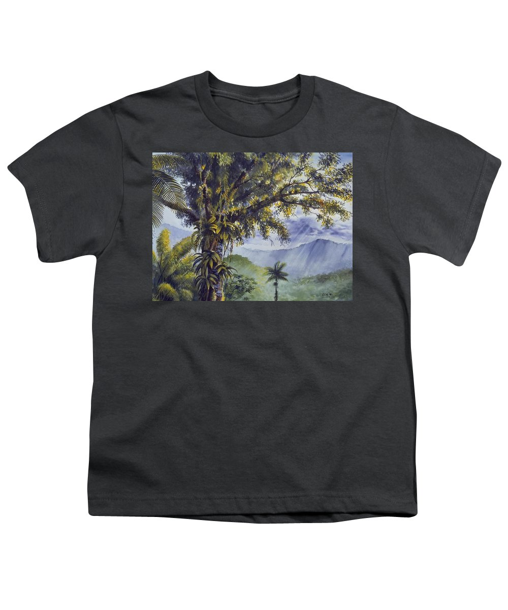 Chris Cox Youth T-Shirt featuring the painting Through The Canopy by Christopher Cox