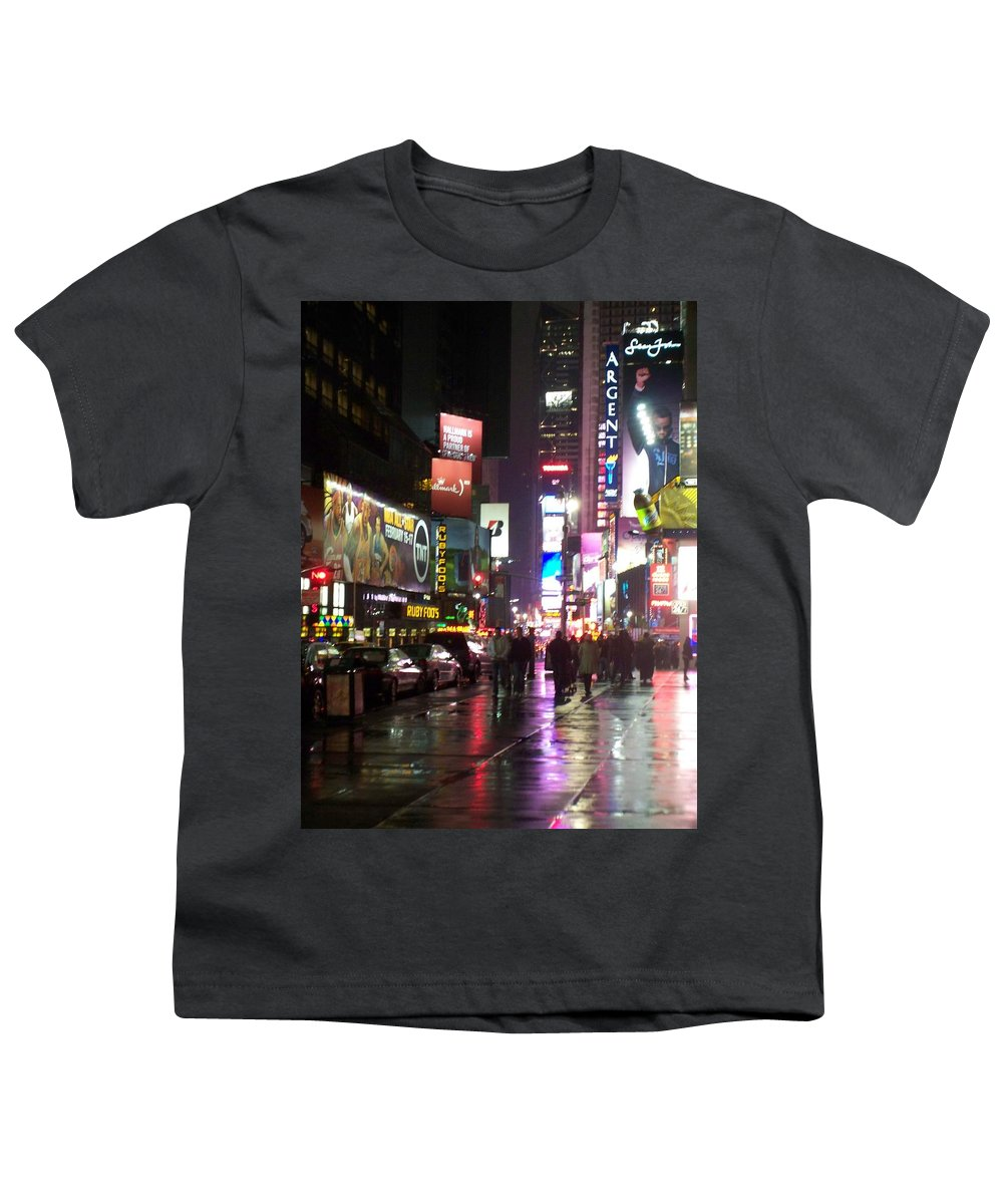 Times Square Youth T-Shirt featuring the photograph Times Square In The Rain 1 by Anita Burgermeister