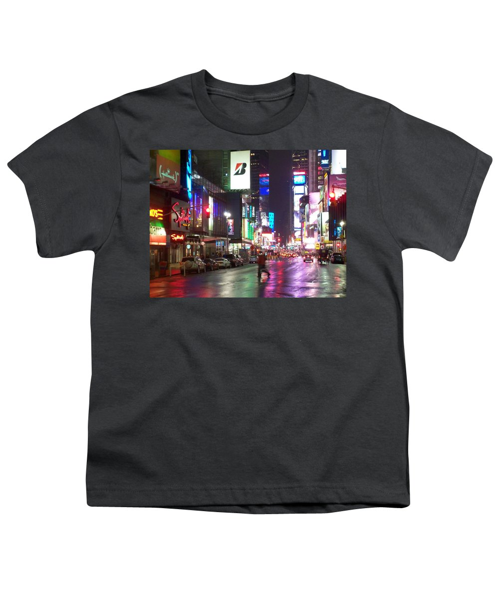 Times Square Youth T-Shirt featuring the photograph Times Square In The Rain 2 by Anita Burgermeister