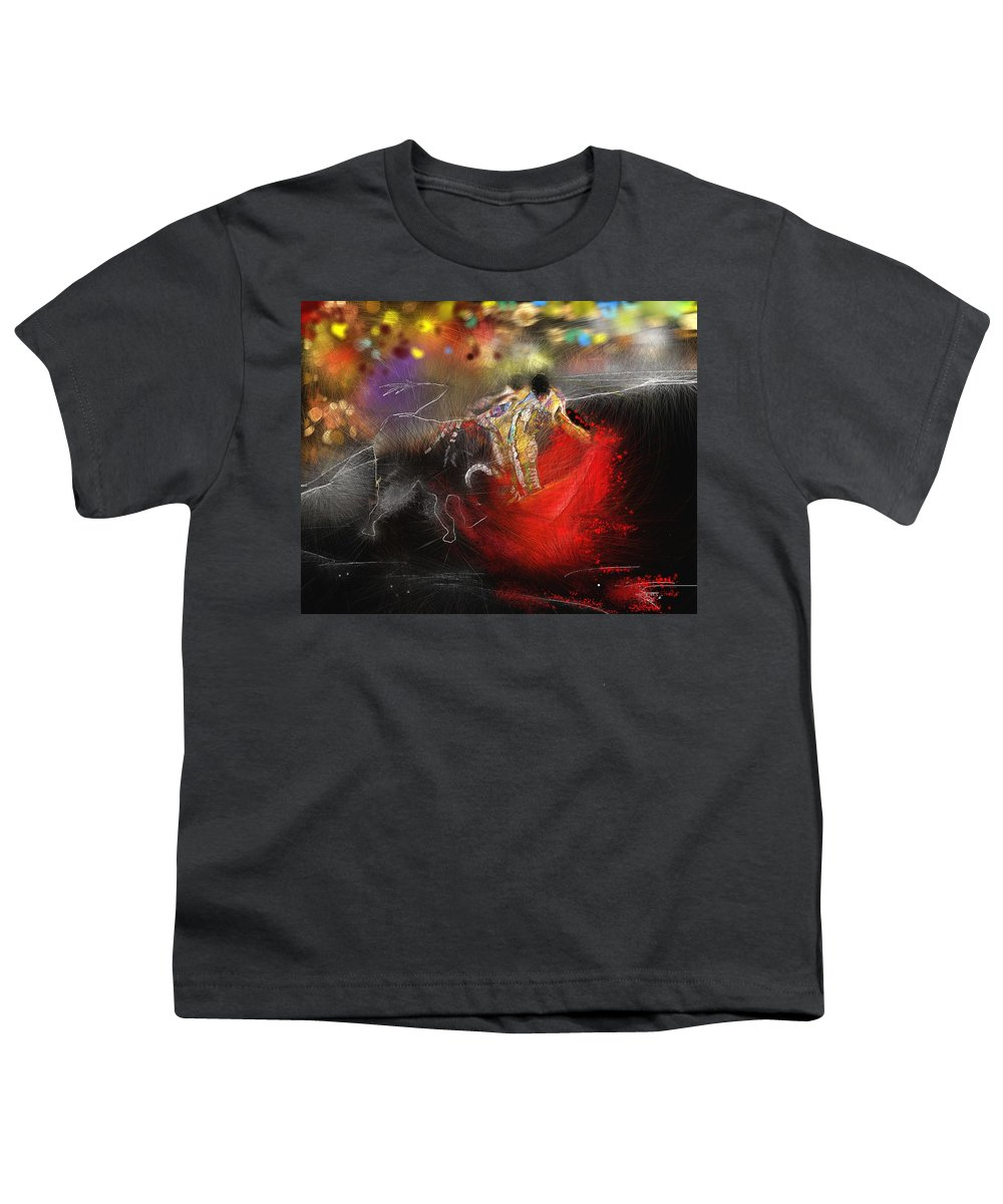 Animals Youth T-Shirt featuring the painting Toroscape 18 by Miki De Goodaboom