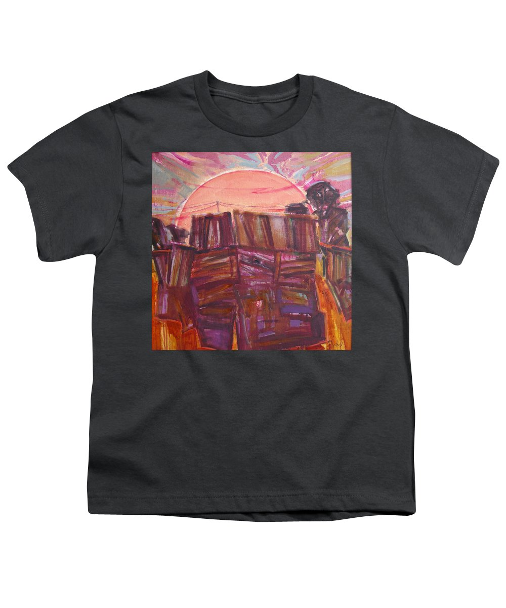 Oil Youth T-Shirt featuring the painting Tracks by Sergey Ignatenko