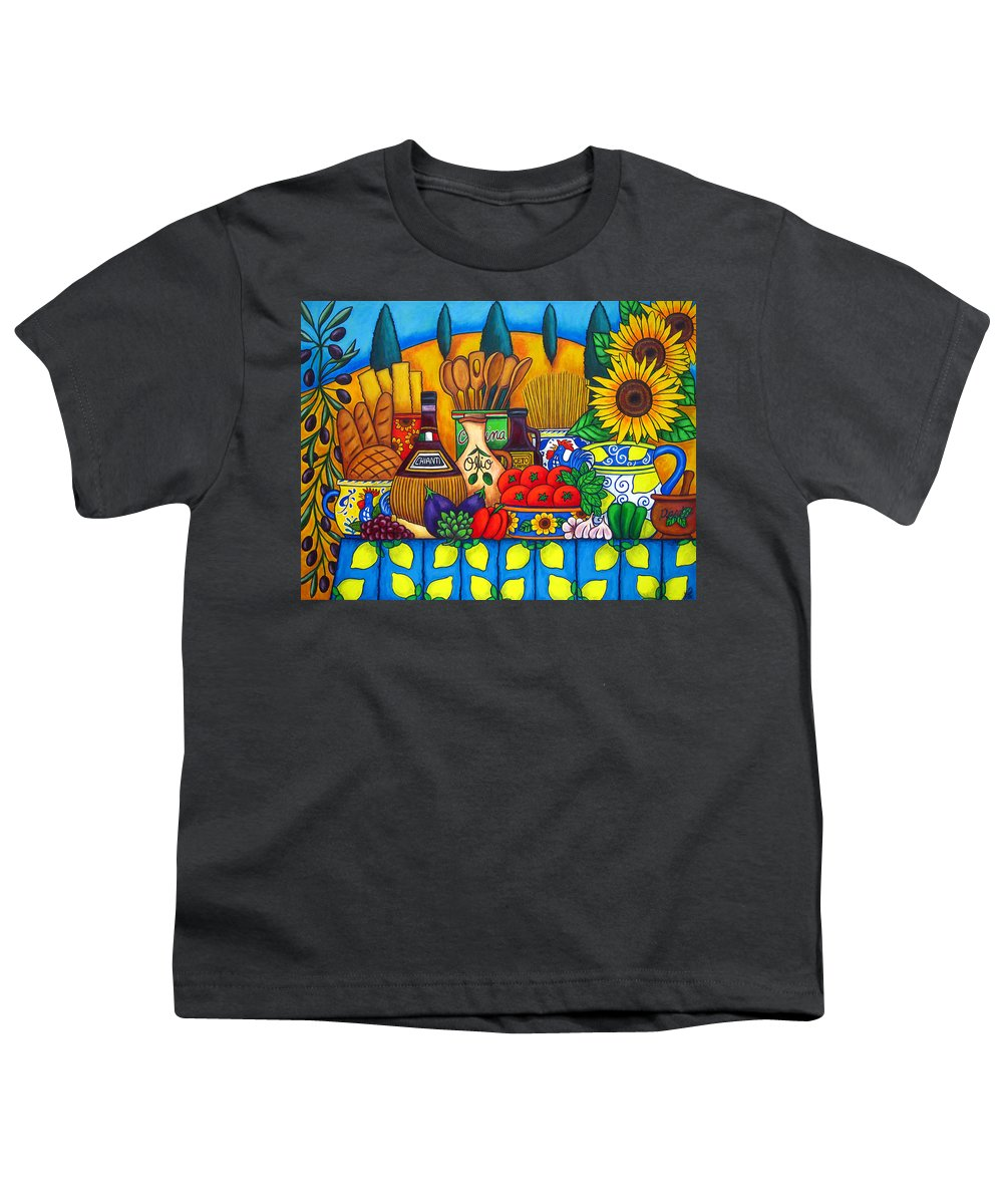 Still Life Youth T-Shirt featuring the painting Tuscany Delights by Lisa Lorenz