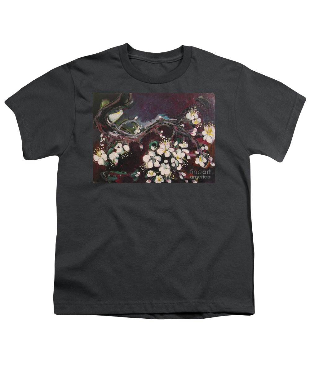 Ume Blossoms Paintings Youth T-Shirt featuring the painting Ume Blossoms by Seon-Jeong Kim
