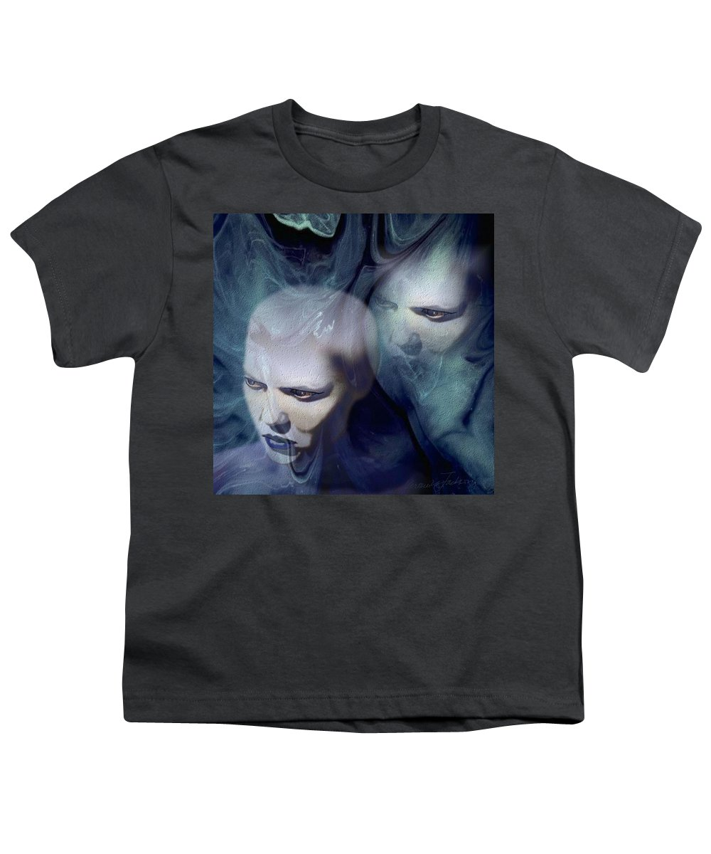 Dream Afterlife Experience Blue Smoke Youth T-Shirt featuring the digital art Untitled by Veronica Jackson