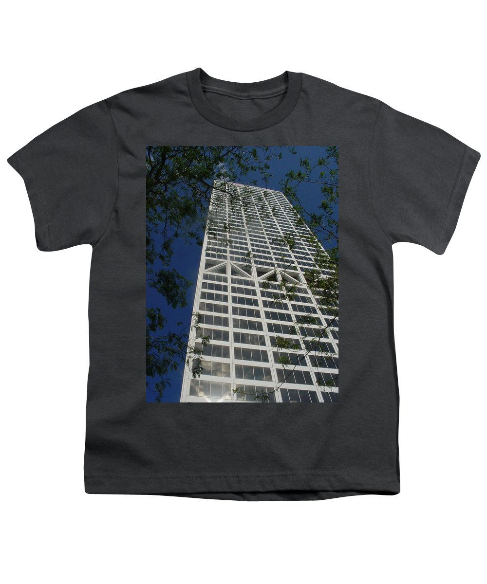 Us Bank Youth T-Shirt featuring the photograph Us Bank With Trees by Anita Burgermeister