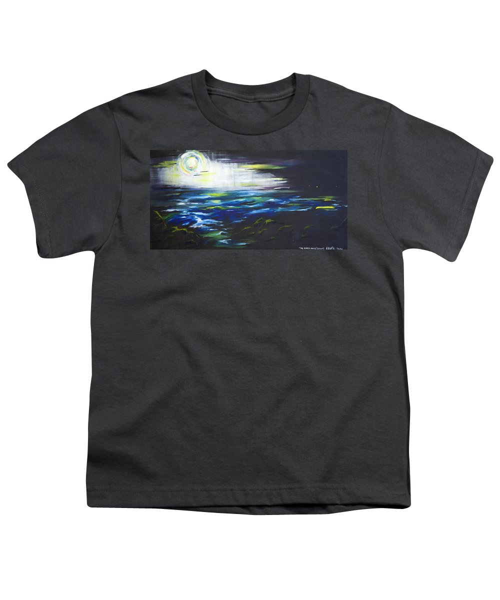 Night Youth T-Shirt featuring the painting Ventura Seascape At Night by Sheridan Furrer