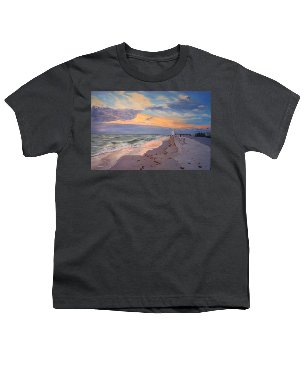 Seascape Youth T-Shirt featuring the painting Walking On The Beach At Sunset by Lea Novak