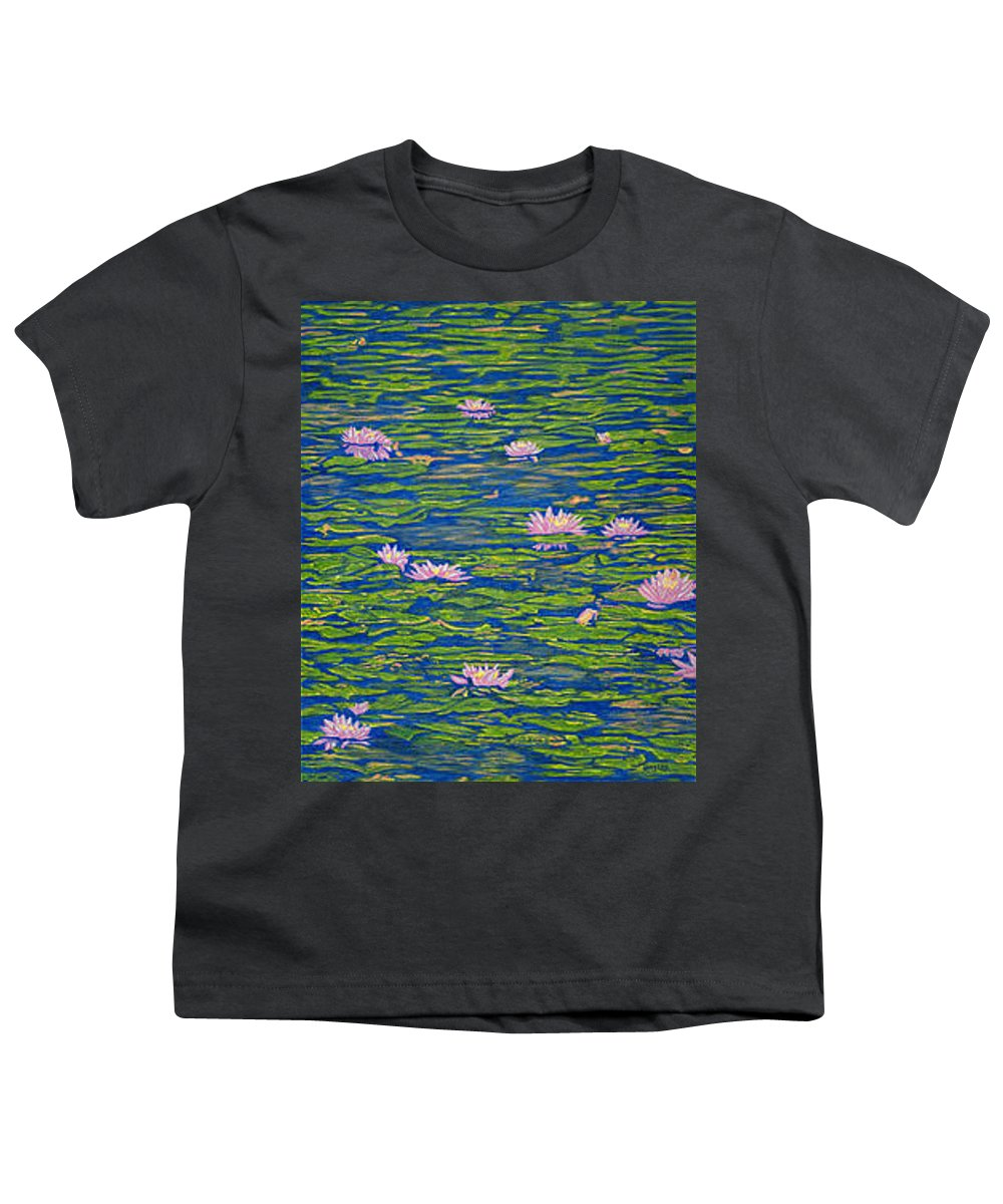 Lotuses Youth T-Shirt featuring the drawing Water Lily Flowers Happy Water Lilies Fine Art Prints Giclee High Quality Impressive Color Lotuses by Baslee Troutman