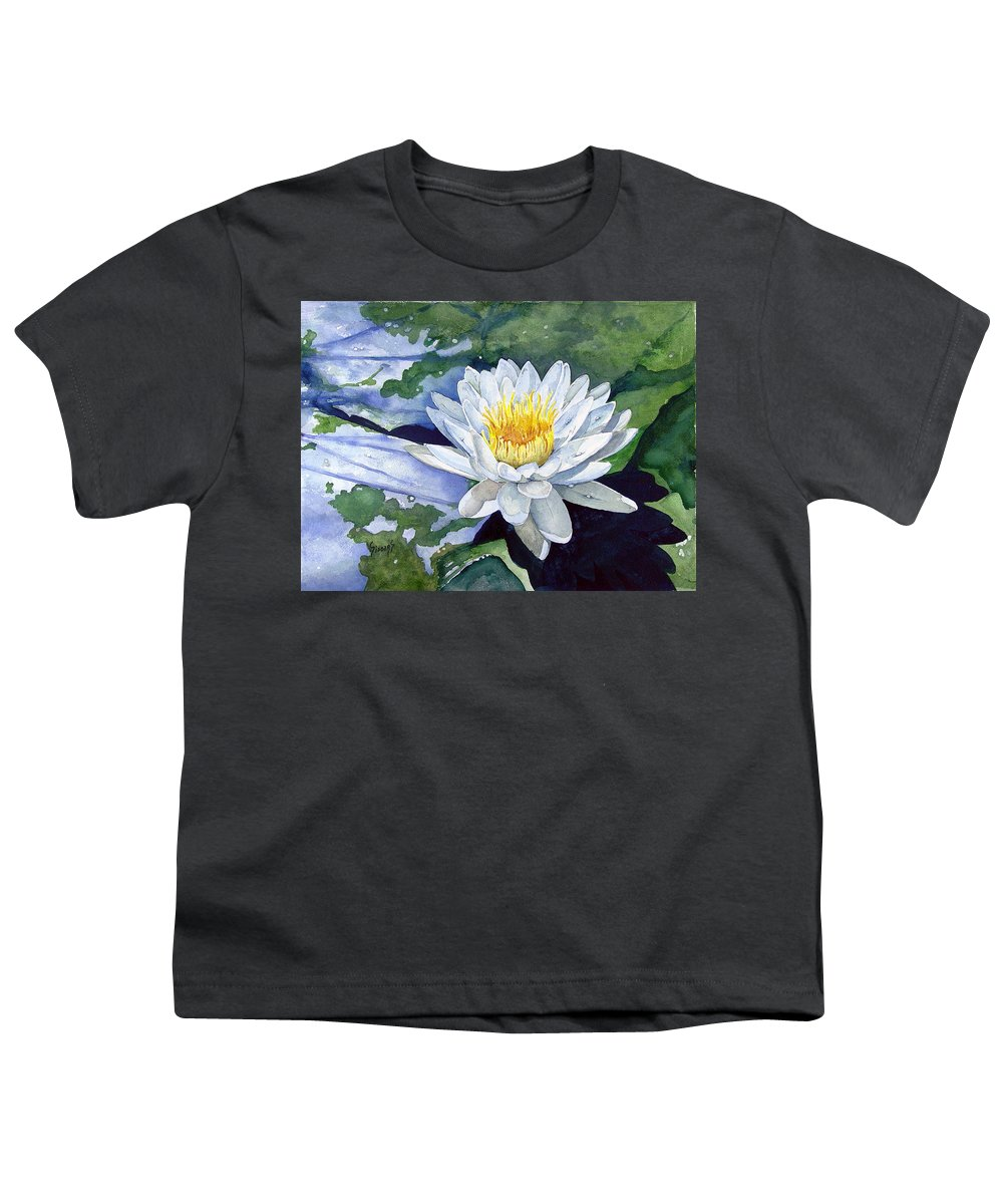 Flower Youth T-Shirt featuring the painting Water Lily by Sam Sidders