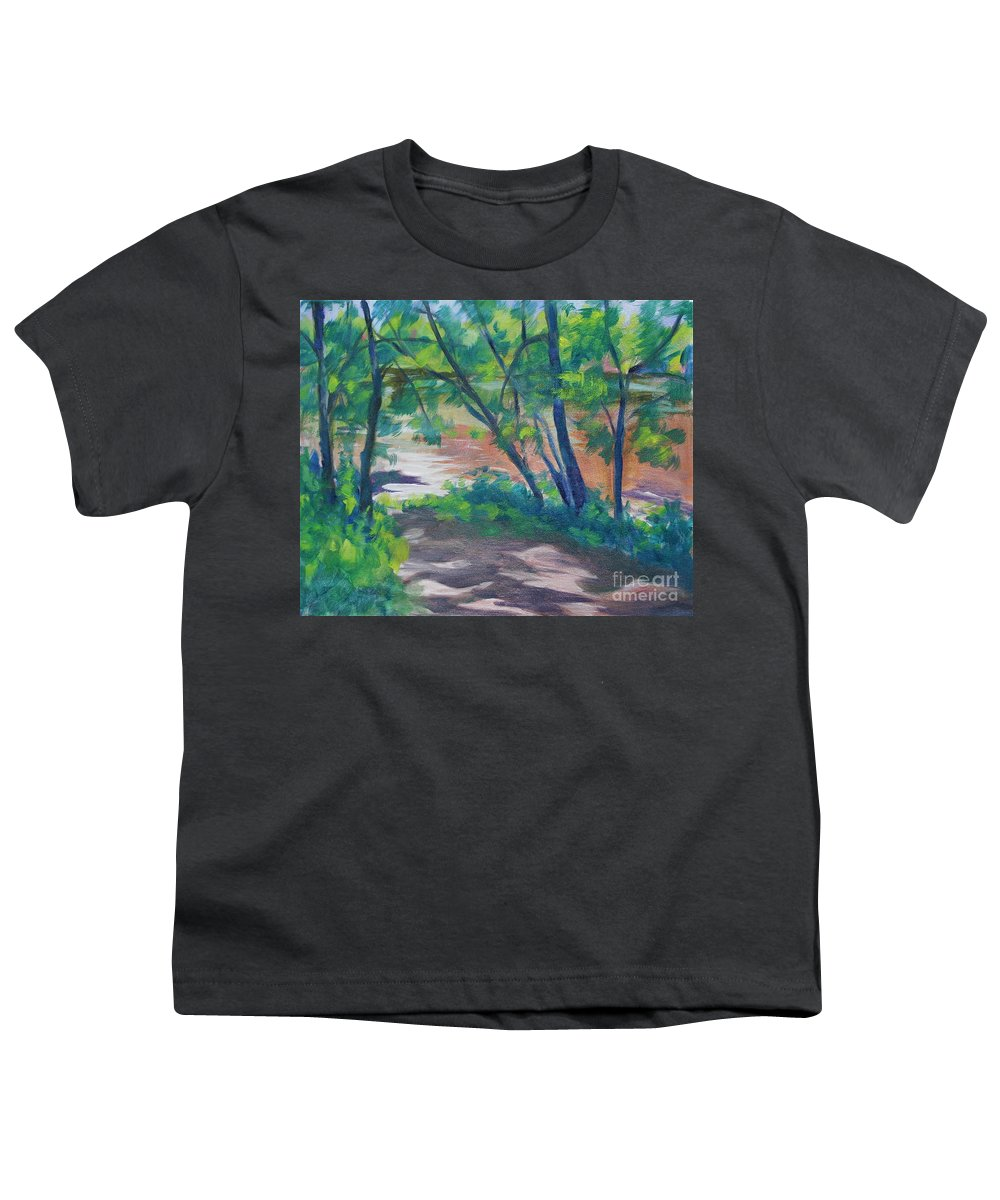 Landscape Youth T-Shirt featuring the painting Watercress Beach On The Current River  by Jan Bennicoff