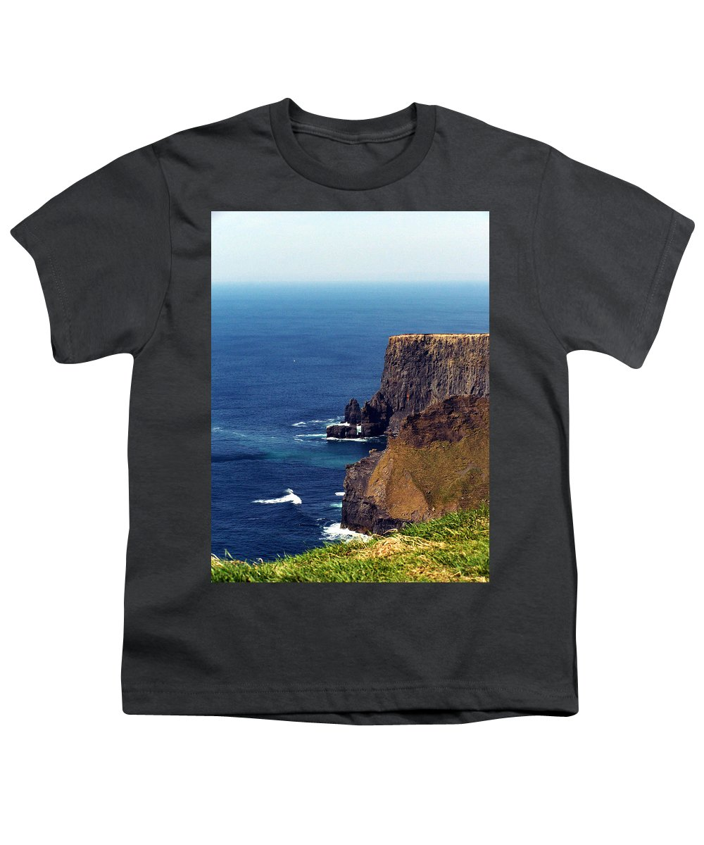 Irish Youth T-Shirt featuring the photograph Waves Crashing At Cliffs Of Moher Ireland by Teresa Mucha